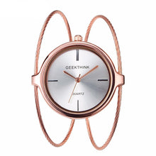 ROSE GOLD DOUBLE RING STEEL BAND QUARTZ WATCH BRACELET