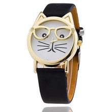 A-SHU FUCHSIA PINK LEATHER QUIRKY CAT FACE QUARTZ WRIST WATCH WITH GOLD DIAL - A-SHU.CO.UK