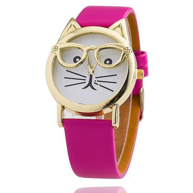 A-SHU BEIGE LEATHER QUIRKY CAT FACE QUARTZ WRIST WATCH WITH GOLD DIAL - A-SHU.CO.UK