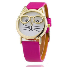 A-SHU LEOPARD PRINT QUIRKY CAT FACE QUARTZ WRIST WATCH WITH GOLD DIAL - A-SHU.CO.UK