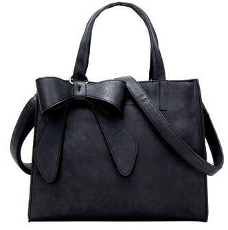 A-SHU BLACK MULTI-COMPARTMENT BOW HANDBAG WITH LONG STRAP - A-SHU.CO.UK