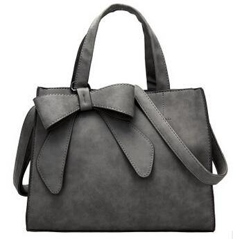 A-SHU DARK GREY MULTI-COMPARTMENT BOW HANDBAG WITH LONG STRAP - A-SHU.CO.UK