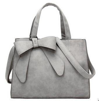 A-SHU LIGHT GREY MULTI-COMPARTMENT BOW HANDBAG WITH LONG STRAP - A-SHU.CO.UK