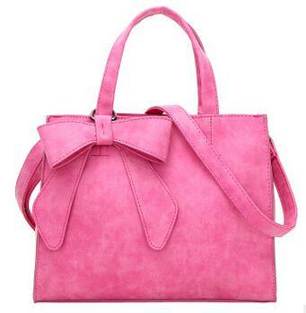 A-SHU PINK MULTI-COMPARTMENT BOW HANDBAG WITH LONG STRAP - A-SHU.CO.UK