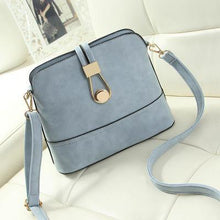 A-SHU BLUE FAUX LEATHER CROSS-BODY BAG WITH LONG SHOULDER STRAP - A-SHU.CO.UK