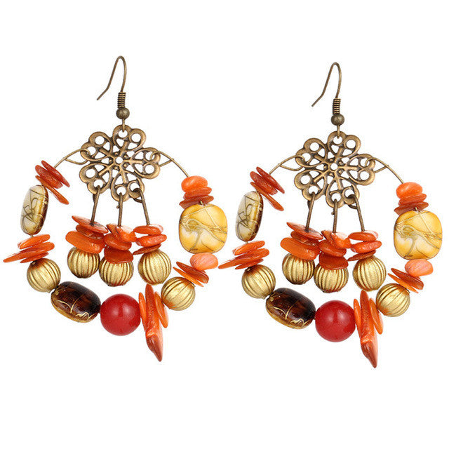 A-SHU BOHO INSPIRED ORANGE BEADED DROP EARRINGS - A-SHU.CO.UK