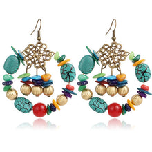 A-SHU BOHO INSPIRED TURQUOISE BEADED DROP EARRINGS - A-SHU.CO.UK