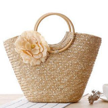 A-SHU FUSHCIA PINK FLORAL STRAW BEACH BAG / HOLDALL HANDBAG - A-SHU.CO.UK