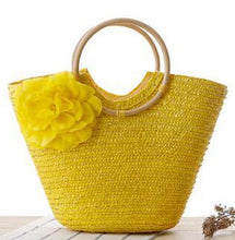 A-SHU GREEN FLORAL STRAW BEACH BAG / HOLDALL HANDBAG - A-SHU.CO.UK