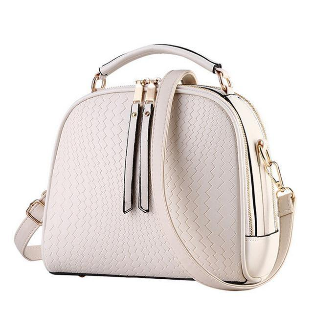 A-SHU BEIGE CHEVRON DESIGN MULTI-COMPARTMENT HOLDALL HANDBAG WITH LONG STRAP - A-SHU.CO.UK