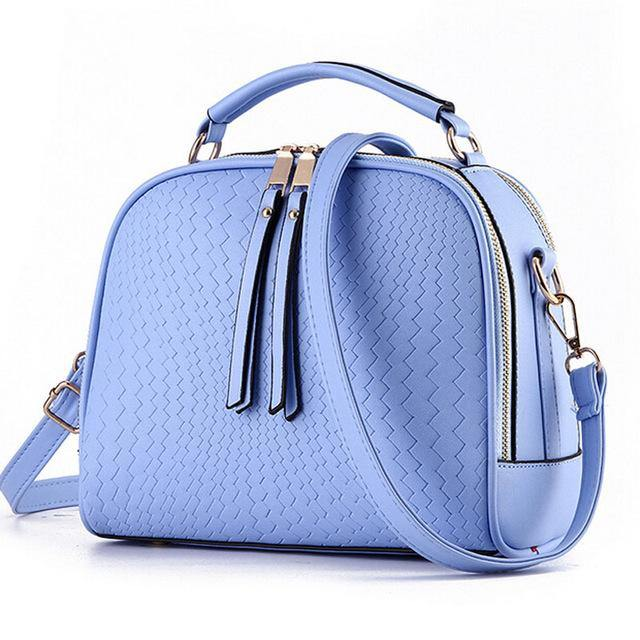 SKY BLUE CHEVRON DESIGN MULTI-COMPARTMENT HOLDALL HANDBAG WITH LONG STRAP