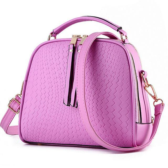 A-SHU LILAC PINK CHEVRON DESIGN MULTI-COMPARTMENT HOLDALL HANDBAG WITH LONG STRAP - A-SHU.CO.UK