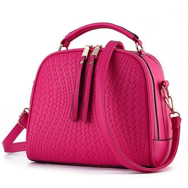 A-SHU FUCHSIA PINK CHEVRON DESIGN MULTI-COMPARTMENT HOLDALL HANDBAG WITH LONG STRAP - A-SHU.CO.UK