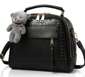 A-SHU BLACK QUILTED DESIGN MULTI-COMPARTMENT HOLDALL HANDBAG WITH LONG STRAP - A-SHU.CO.UK