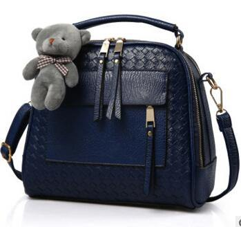 NAVY BLUE QUILTED DESIGN MULTI-COMPARTMENT HOLDALL HANDBAG WITH LONG STRAP