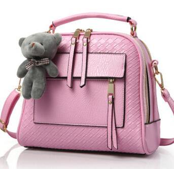 PINK QUILTED DESIGN MULTI-COMPARTMENT HOLDALL HANDBAG WITH LONG STRAP