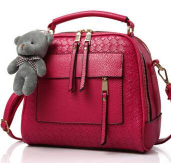 A-SHU RASPBERRY RED QUILTED DESIGN MULTI-COMPARTMENT HOLDALL HANDBAG WITH LONG STRAP - A-SHU.CO.UK
