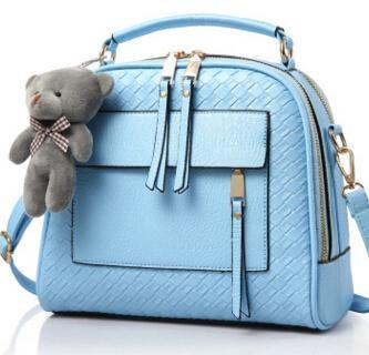 A-SHU BLUE QUILTED DESIGN MULTI-COMPARTMENT HOLDALL HANDBAG WITH LONG STRAP - A-SHU.CO.UK