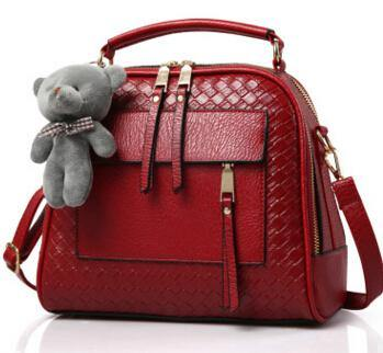 MAROON QUILTED DESIGN MULTI-COMPARTMENT HOLDALL HANDBAG WITH LONG STRAP