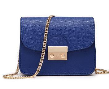 A-SHU ROYAL BLUE SMALL CROSS-BODY BAG WITH LONG GOLD CHAIN SHOULDER STRAP - A-SHU.CO.UK