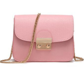 PINK SMALL CROSS-BODY BAG WITH LONG GOLD CHAIN SHOULDER STRAP
