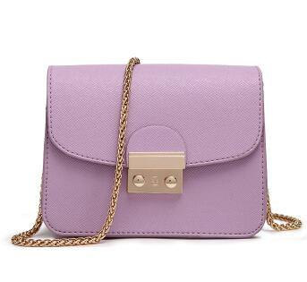 LILAC SMALL CROSS-BODY BAG WITH LONG GOLD CHAIN SHOULDER STRAP