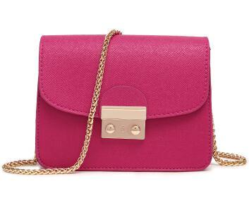 FUCHSIA PINK SMALL CROSS-BODY BAG WITH LONG GOLD CHAIN SHOULDER STRAP