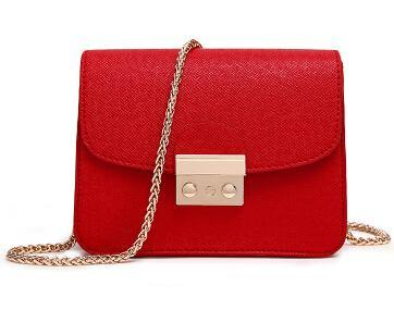 RED SMALL CROSS-BODY BAG WITH LONG GOLD CHAIN SHOULDER STRAP