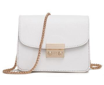 WHITE SMALL CROSS-BODY BAG WITH LONG GOLD CHAIN SHOULDER STRAP