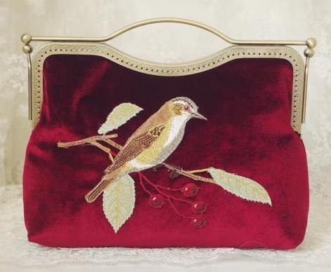 MAROON HANDMADE VELVET CLUTCH BAG WITH BIRD AND FLOWER EMBROIDERY