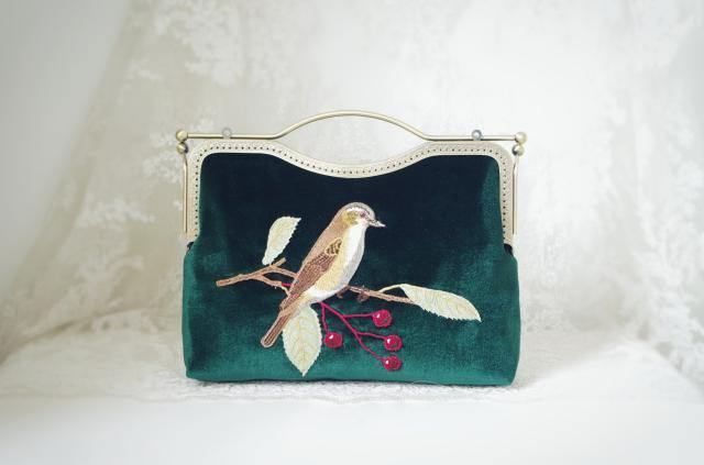 A-SHU BROWN HANDMADE VELVET CLUTCH BAG WITH BIRD AND FLOWER EMBROIDERY - A-SHU.CO.UK