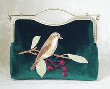 A-SHU GREEN HANDMADE VELVET CLUTCH BAG WITH BIRD AND FLOWER EMBROIDERY - A-SHU.CO.UK