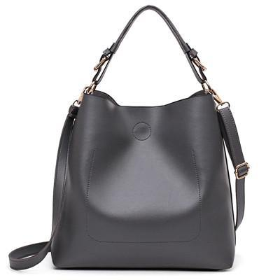 A-SHU GREY SIMPLE HOLDALL HANDBAG WITH DETACHABLE INNER BAG AND LONG STRAP - A-SHU.CO.UK