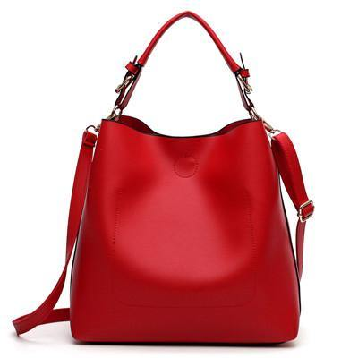 RED SIMPLE HOLDALL HANDBAG WITH DETACHABLE INNER BAG AND LONG STRAP