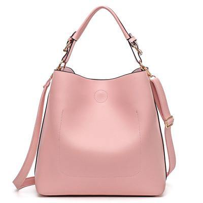 PINK SIMPLE HOLDALL HANDBAG WITH DETACHABLE INNER BAG AND LONG STRAP
