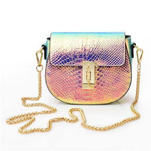 A-SHU SMALL NEON METALLIC MULTI-COLOUR CROSS-BODY BAG WITH LONG CHAIN STRAP - A-SHU.CO.UK