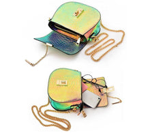 SMALL NEON METALLIC MULTI-COLOUR CROSS-BODY BAG WITH LONG CHAIN STRAP