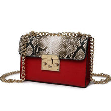 A-SHU DESIGNER STYLE RED SNAKESKIN EFFECT CROSS-BODY HANDBAG WITH CHAIN LINKED STRAP - A-SHU.CO.UK