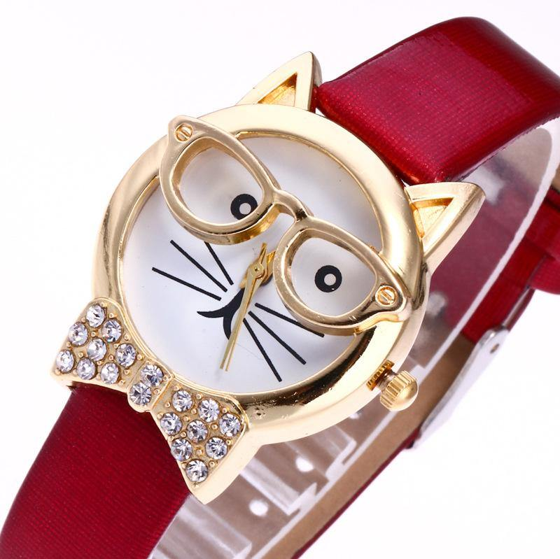 A-SHU BROWN QUIRKY GOLD CAT FACE QUARTZ WRIST WATCH WITH BOW TIE - A-SHU.CO.UK