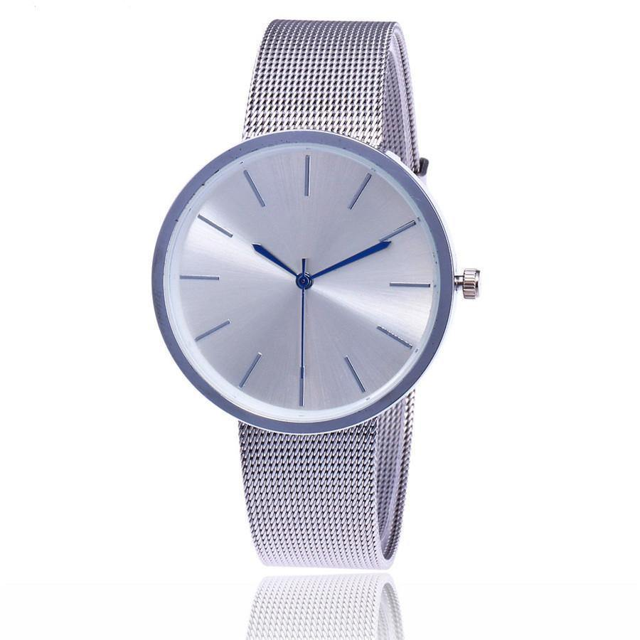 A-SHU SILVER PLAIN MESH BAND WOMENS QUARTZ WRIST WATCH - A-SHU.CO.UK