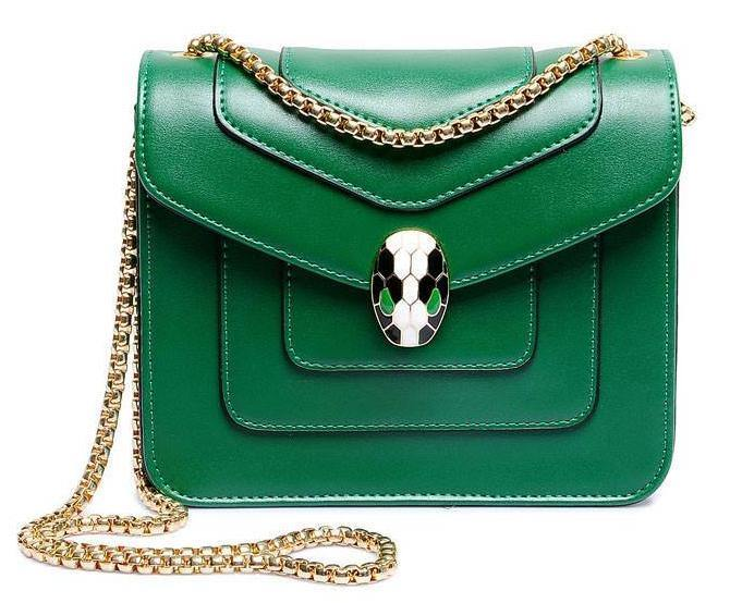 A-SHU GREEN EMBELLISHED CLASP CROSS-BODY BAG WITH LONG CHAIN STRAP - A-SHU.CO.UK