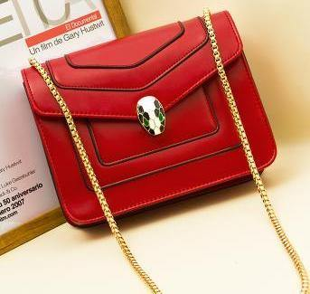 A-SHU RED EMBELLISHED CLASP CROSS-BODY BAG WITH LONG CHAIN STRAP - A-SHU.CO.UK
