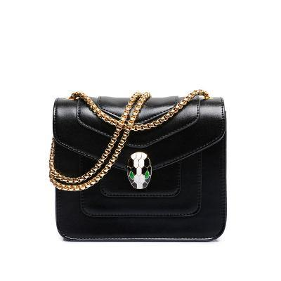A-SHU BLACK EMBELLISHED CLASP CROSS-BODY BAG WITH LONG CHAIN STRAP - A-SHU.CO.UK