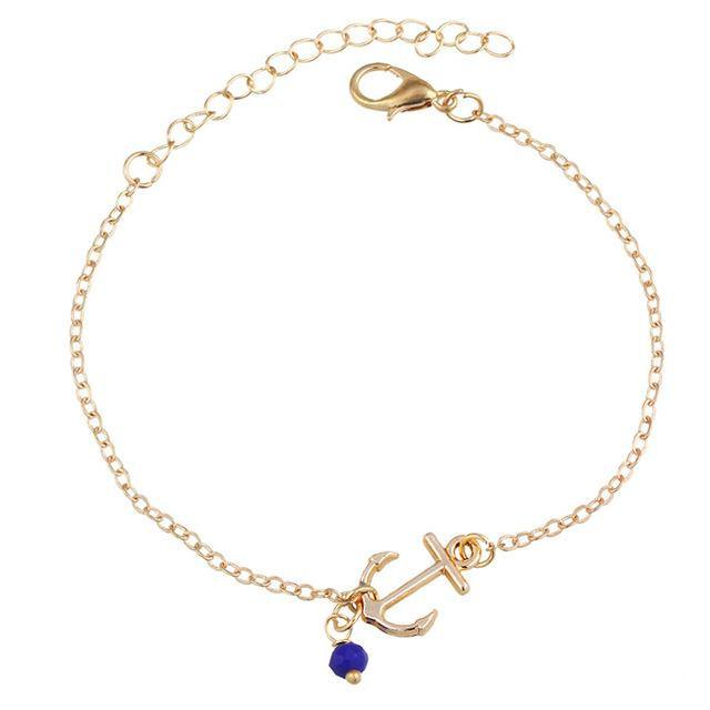 A-SHU GOLD SINGLE LAYER NAUTICAL ANCHOR ANKLET / ANKLE BRACELET - A-SHU.CO.UK