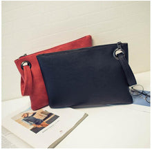 A-SHU BLACK FAUX LEATHER EFFECT LARGE OVER-SIZED CLUTCH BAG WITH WRIST STRAP - A-SHU.CO.UK