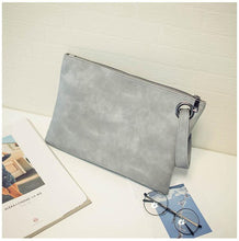 A-SHU GREY FAUX LEATHER EFFECT LARGE OVER-SIZED CLUTCH BAG WITH WRIST STRAP - A-SHU.CO.UK