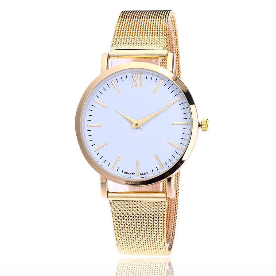 A-SHU GOLD PLAIN MESH BAND WOMENS QUARTZ WRIST WATCH - WHITE DIAL - A-SHU.CO.UK