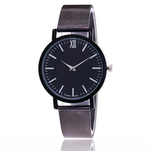 A-SHU BLACK PLAIN MESH BAND WOMENS QUARTZ WRIST WATCH - BLACK DIAL - A-SHU.CO.UK