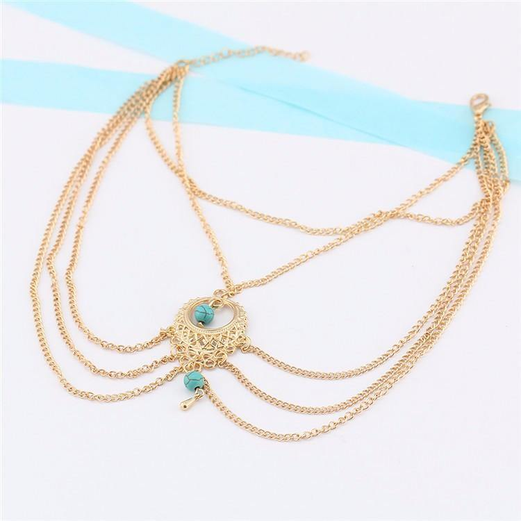 A-SHU LARGE TURQUOISE STONE GOLD ANKLET / ANKLE BRACELET - A-SHU.CO.UK