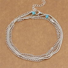 A-SHU LARGE TURQUOISE STONE SILVER ANKLET / ANKLE BRACELET - A-SHU.CO.UK